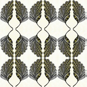 AFRICAN TRIBAL LEAF BLACK and GOLD