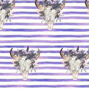 Floral Bull Skull on Stripes