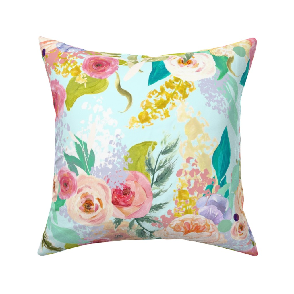 Catalan Throw Pillow featuring Pastel Garden Spring Floral // Light Mint by theartwerks