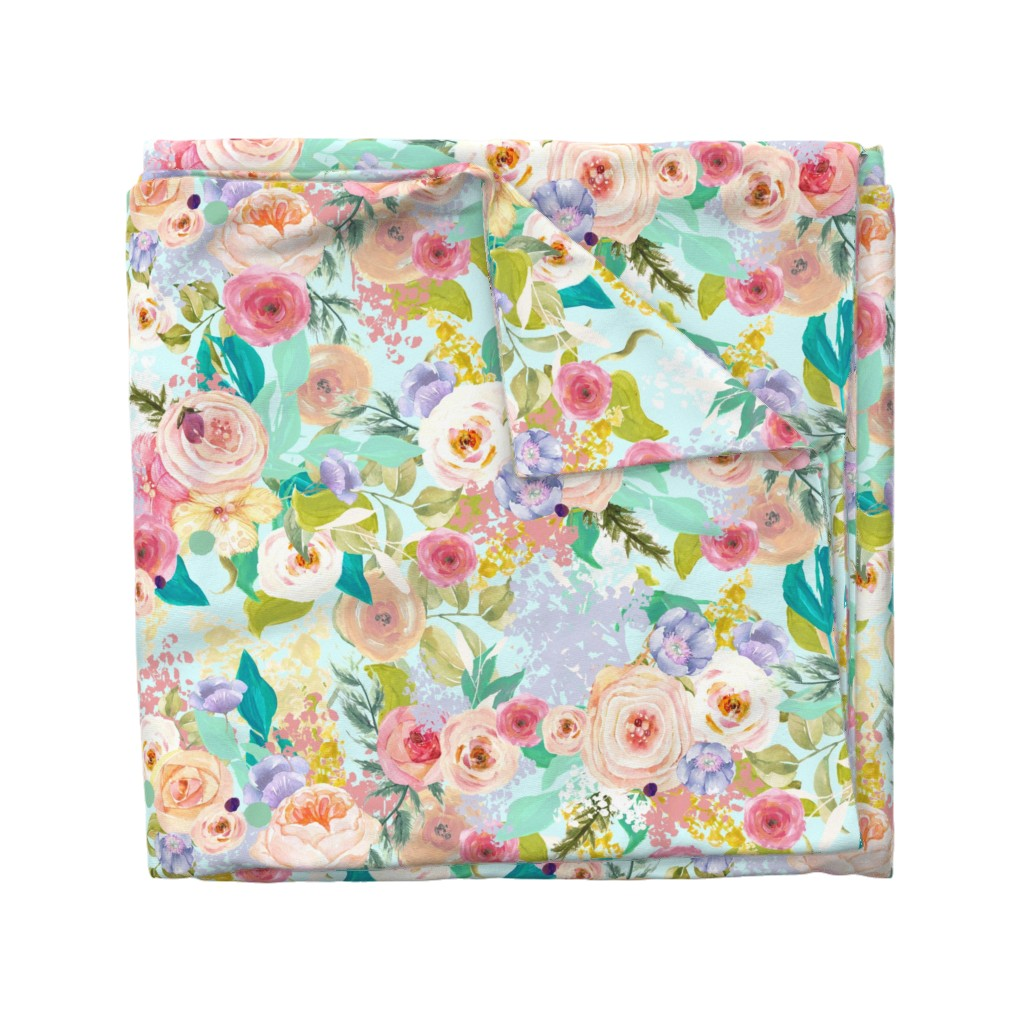 Wyandotte Duvet Cover featuring Pastel Garden Spring Floral // Light Mint by theartwerks