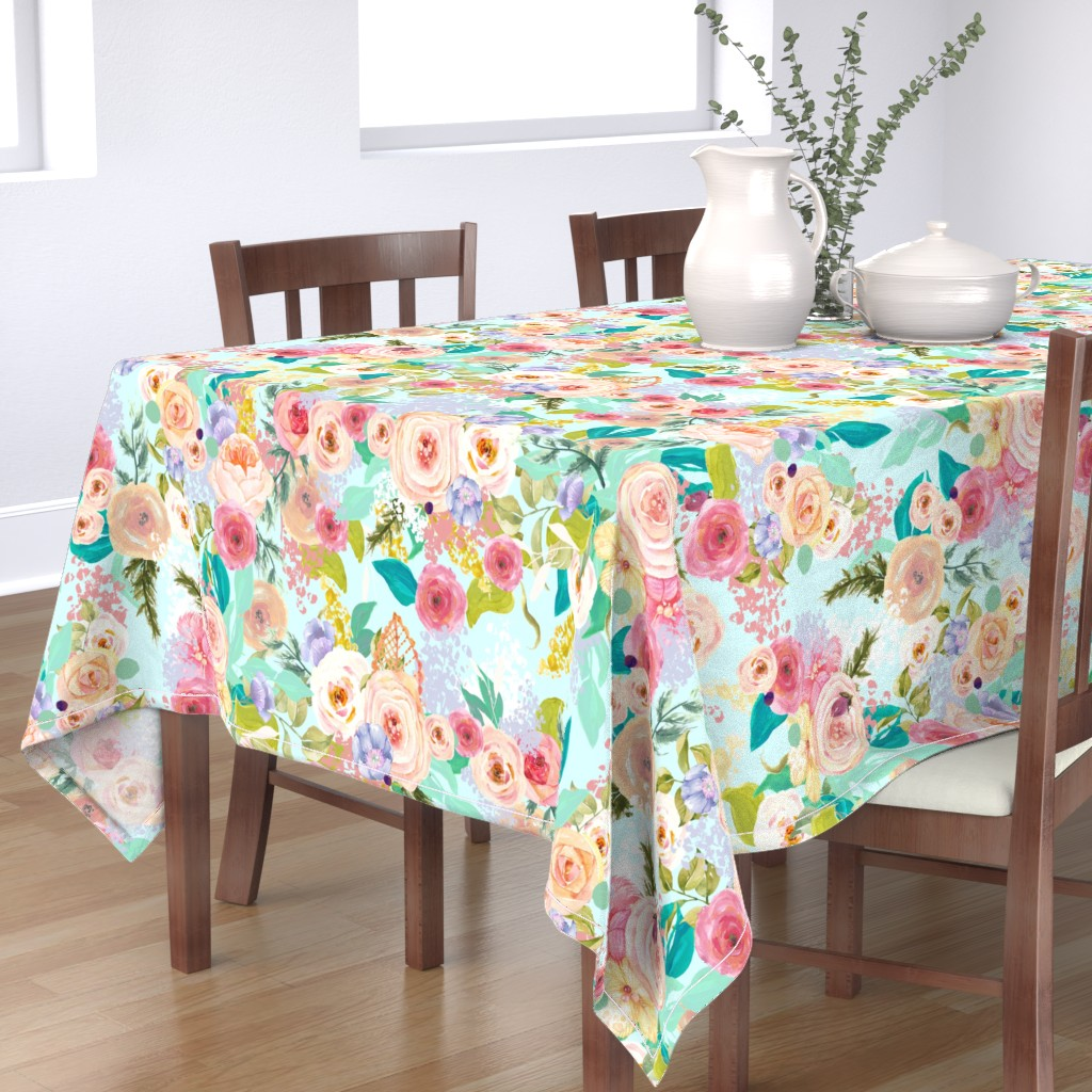 Bantam Rectangular Tablecloth featuring Pastel Garden Spring Floral // Light Mint by theartwerks