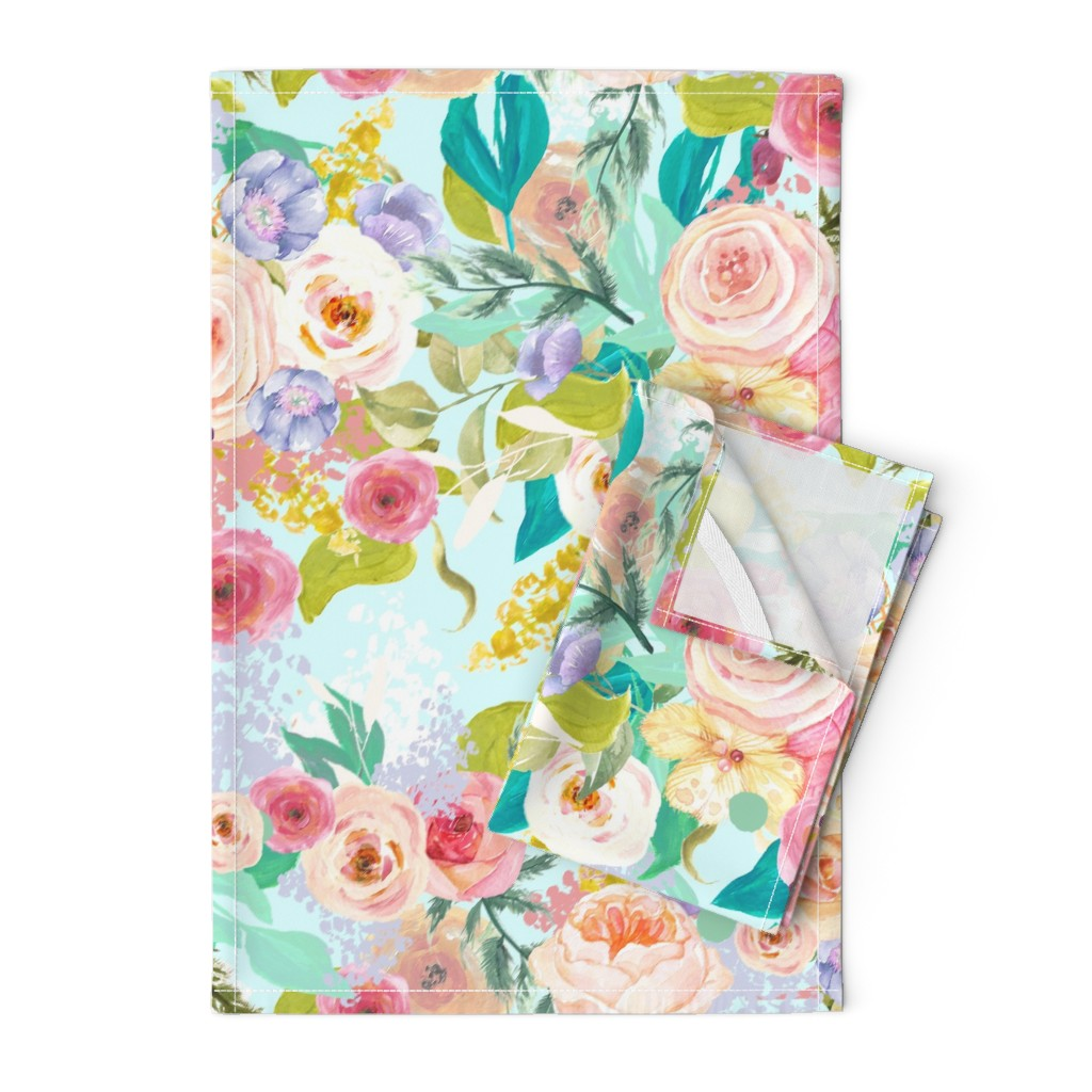 Orpington Tea Towels featuring Pastel Garden Spring Floral // Light Mint by theartwerks