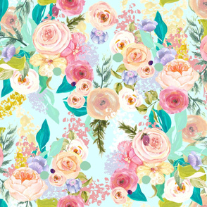 Pastel Garden Spring Floral // Light Mint (Large)
