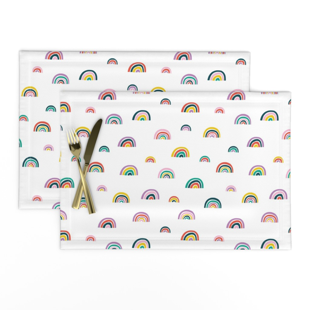 Lamona Cloth Placemats featuring Watercolor Rainbows // Small by hipkiddesigns