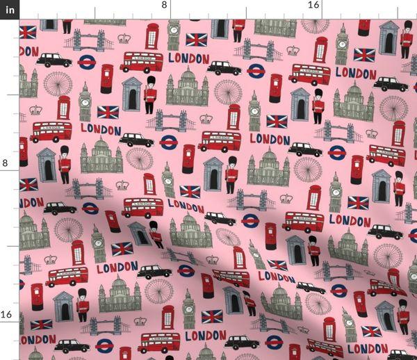 Stoff Meterware Reise London Britisch England Städte