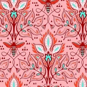 Bee Damask - Smaller Pink
