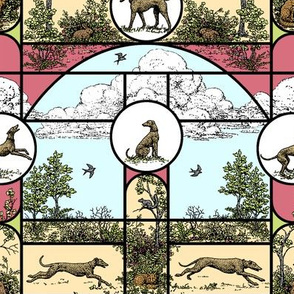 Spring Colors Stained Glass Medium, Toile Greyhounds