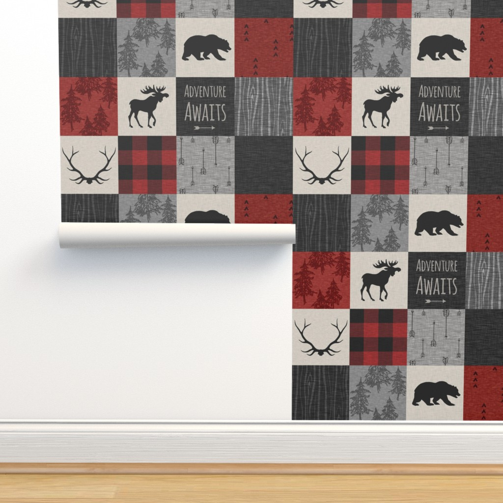 Isobar Durable Wallpaper featuring Adventure Awaits Quilt- Grey,  Black and Red by sugarpinedesign