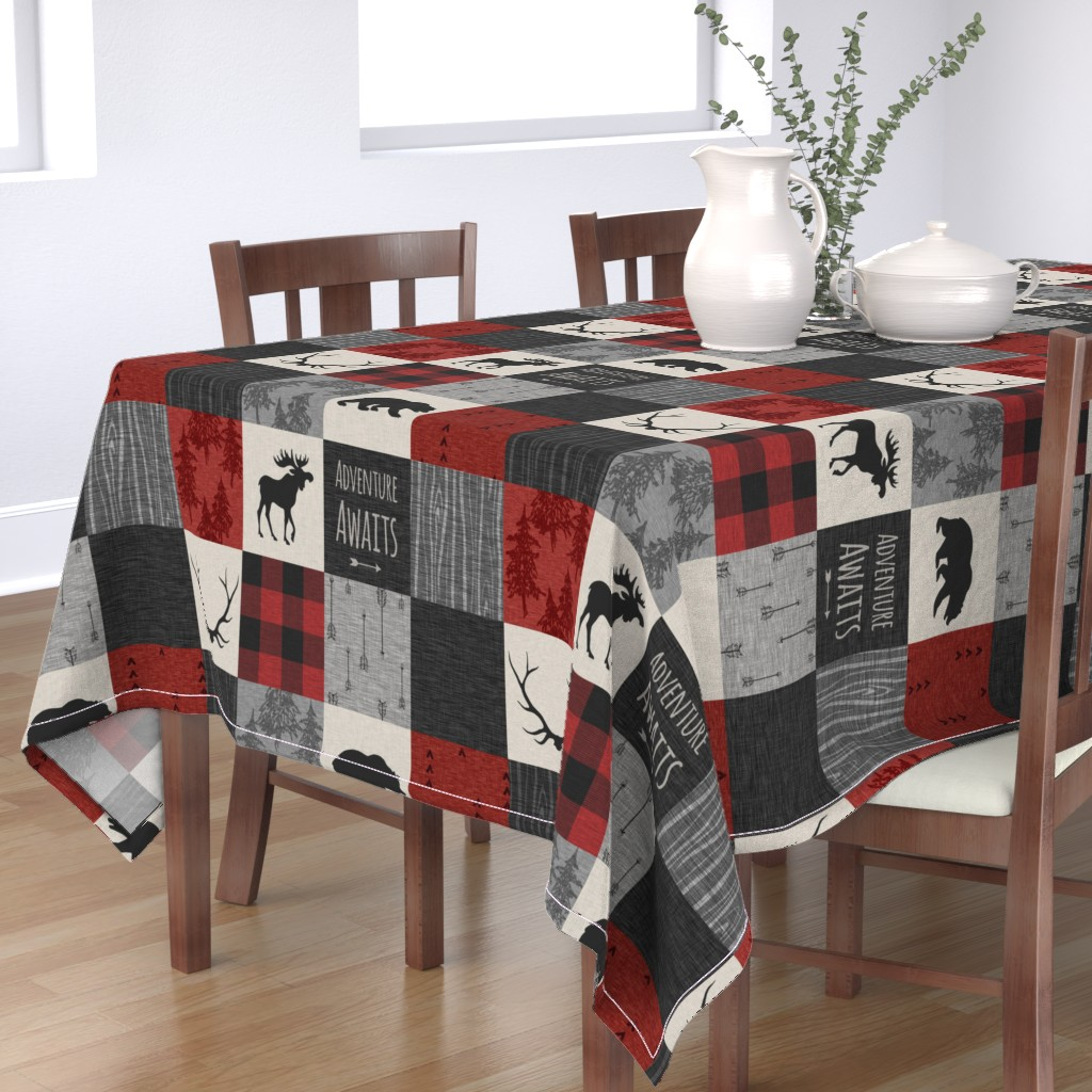 Bantam Rectangular Tablecloth featuring Adventure Awaits Quilt- Grey,  Black and Red by sugarpinedesign
