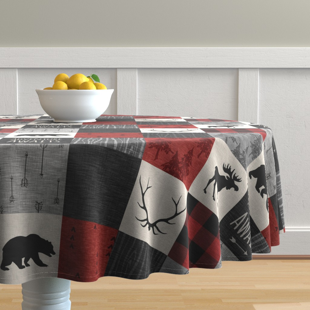 Malay Round Tablecloth featuring Adventure Awaits Quilt- Grey,  Black and Red by sugarpinedesign