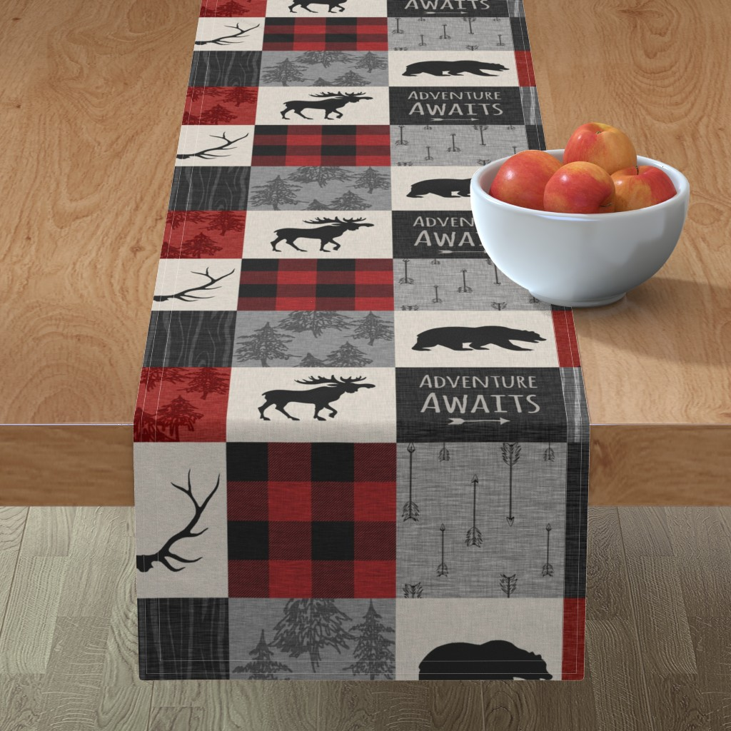 Minorca Table Runner featuring Adventure Awaits Quilt- Grey,  Black and Red by sugarpinedesign