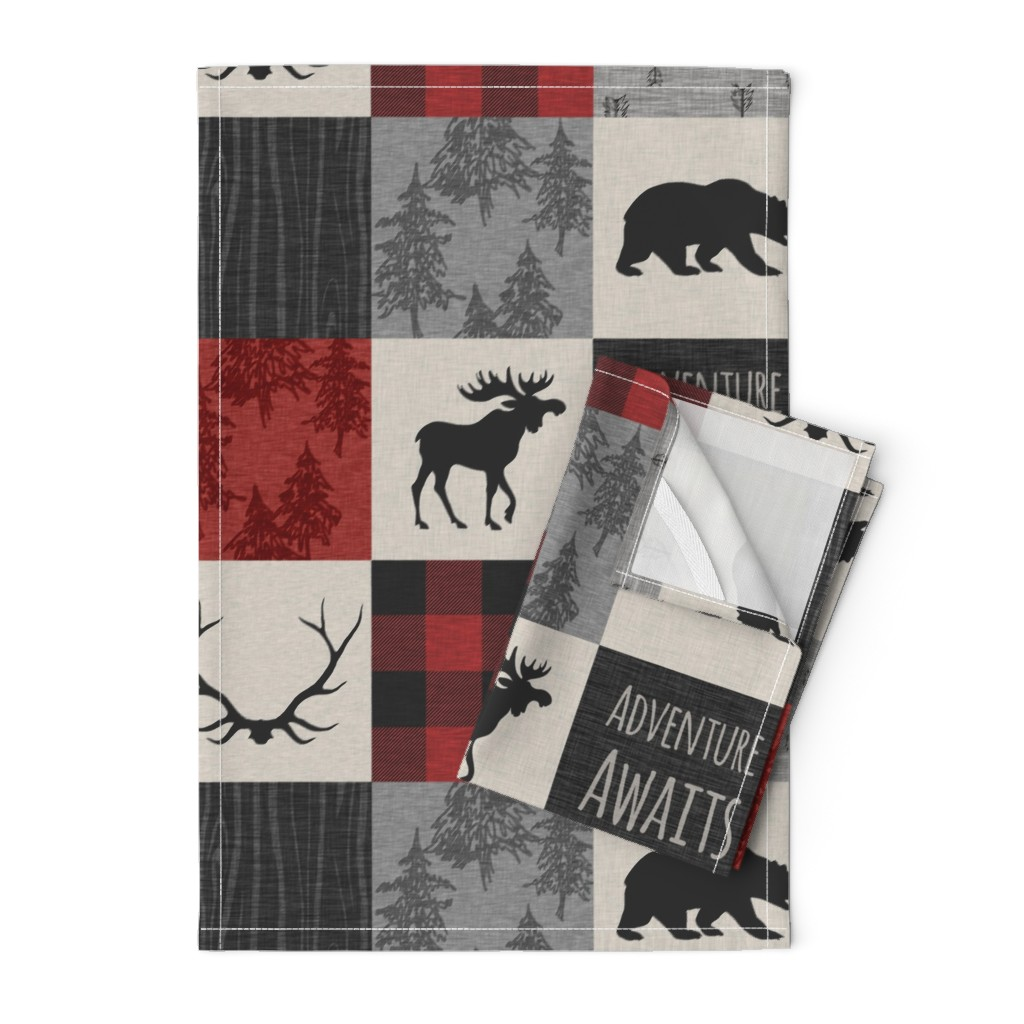 Orpington Tea Towels featuring Adventure Awaits Quilt- Grey,  Black and Red by sugarpinedesign