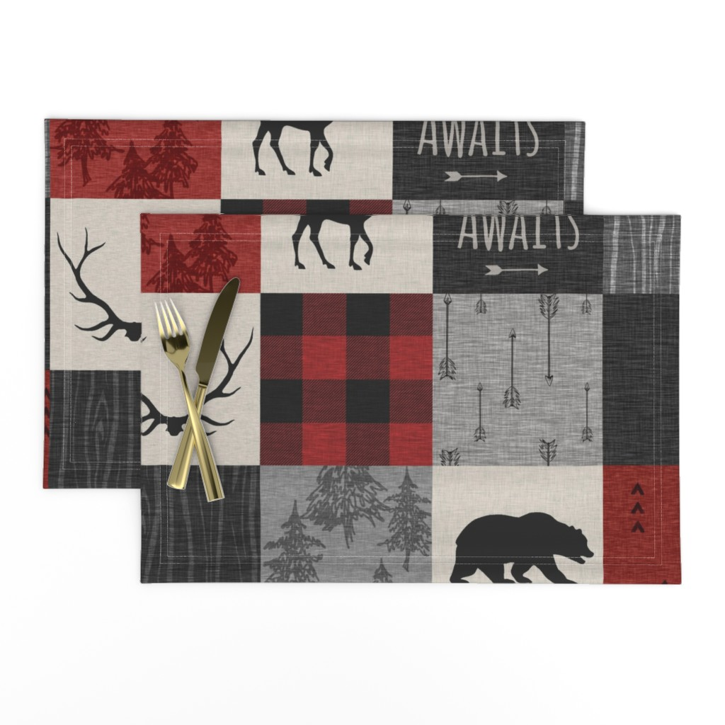 Lamona Cloth Placemats featuring Adventure Awaits Quilt- Grey,  Black and Red by sugarpinedesign