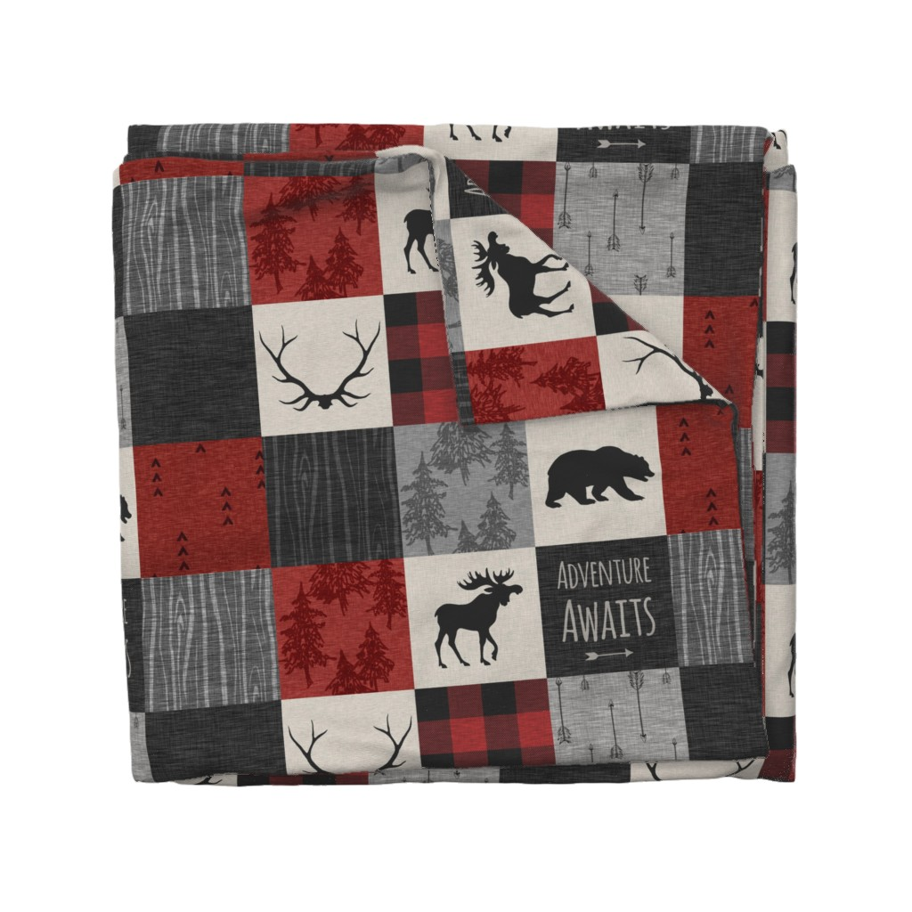 Wyandotte Duvet Cover featuring Adventure Awaits Quilt- Grey,  Black and Red by sugarpinedesign