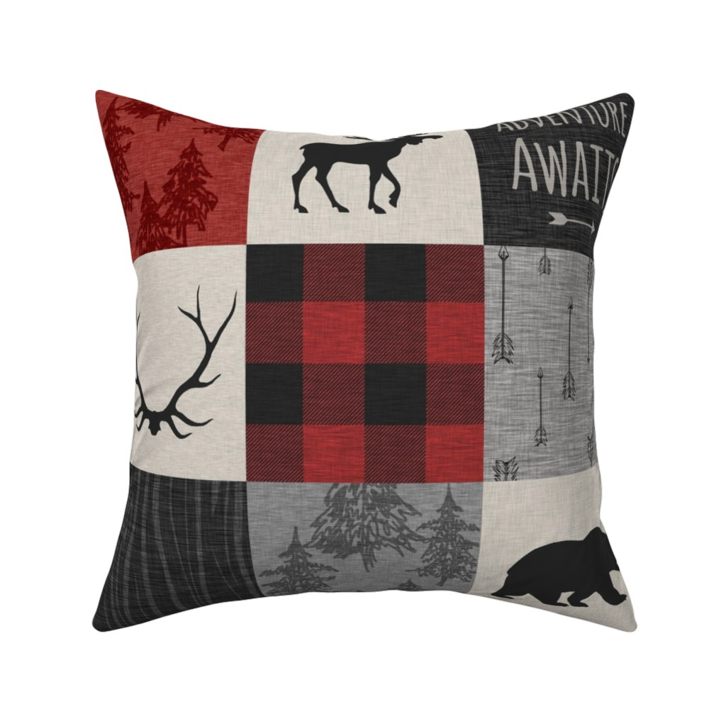 Catalan Throw Pillow featuring Adventure Awaits Quilt- Grey,  Black and Red by sugarpinedesign