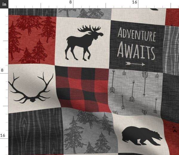 Fabric By The Yard Adventure Awaits Quilt Grey Black And Red