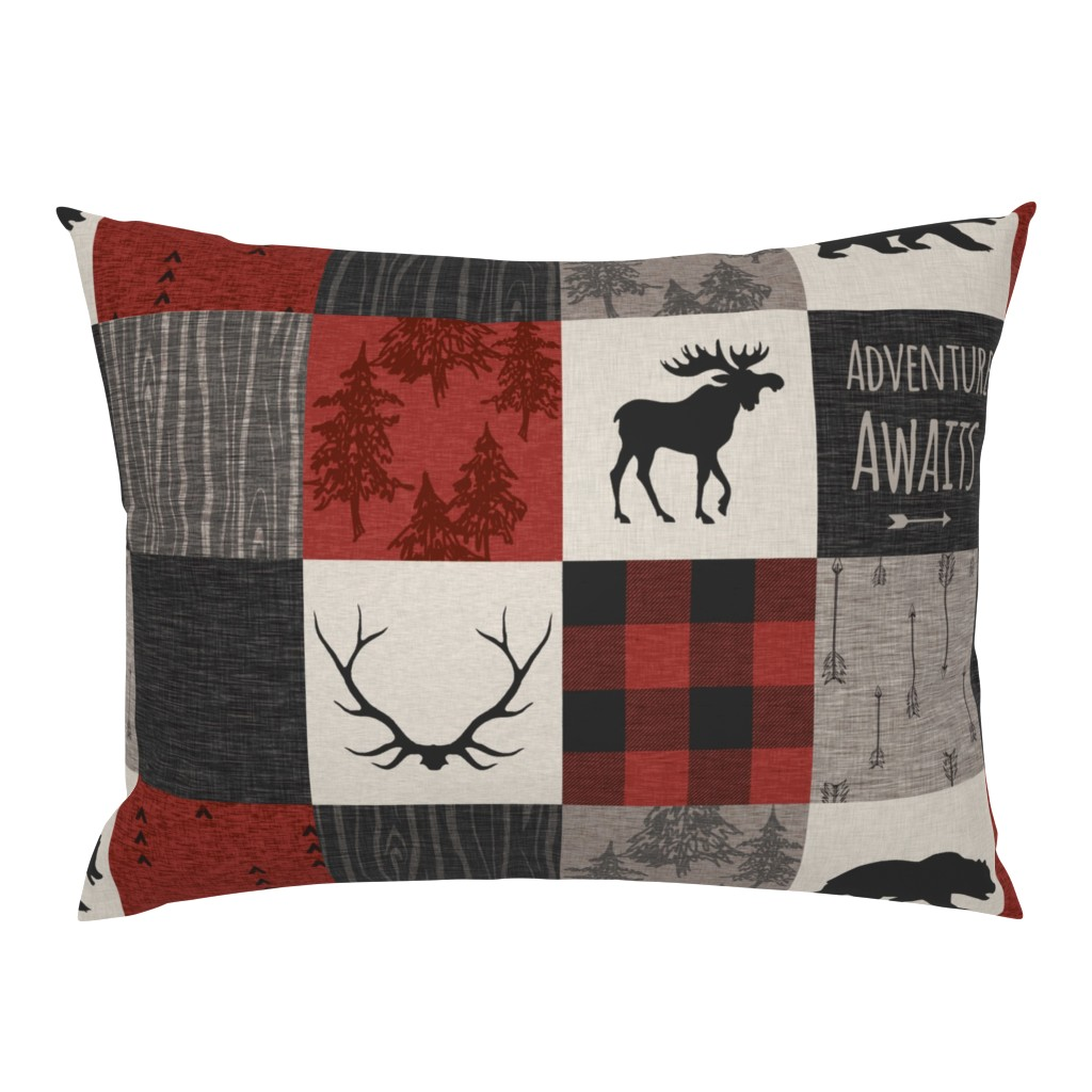Campine Pillow Sham featuring Adventure Awaits 12 Sq - Taupe, Black, Red And Cream by sugarpinedesign