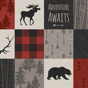 Adventure Awaits 12 Sq - Taupe, Black, Red And Cream