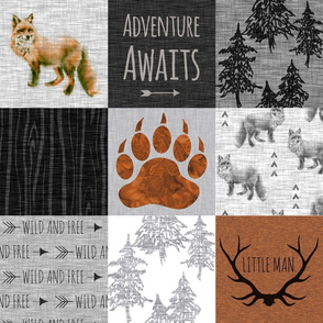 Adventure Awaits with Fox - Rust, Black, Grey, White - Little Man