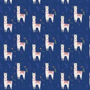 Llama Pattern on Blue