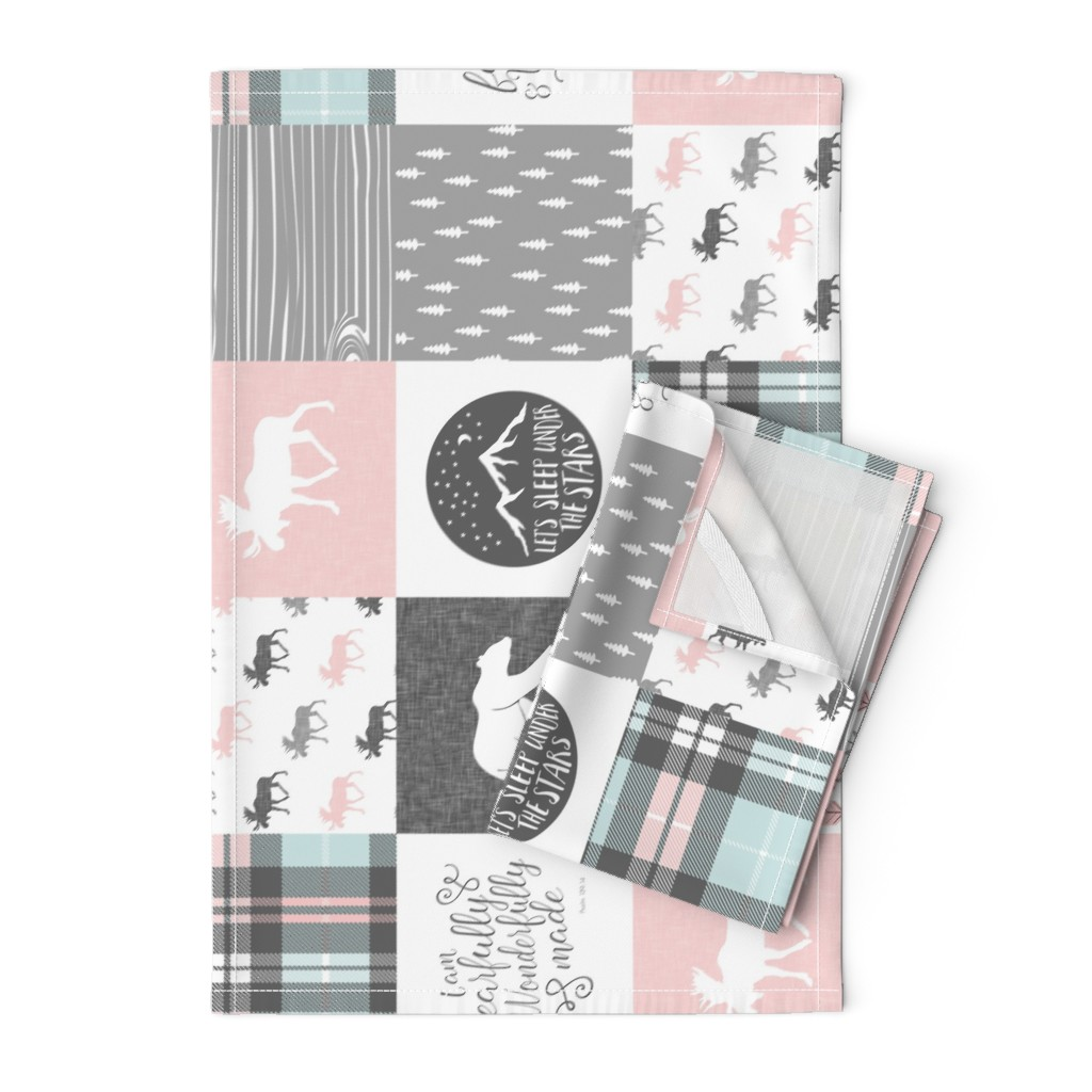 Orpington Tea Towels featuring fearfully and wonderfully made - pink, grey, aviary blue - 3 color plaid patchwork fabric (90) by littlearrowdesign