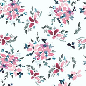 Pink and Blue Floral on White