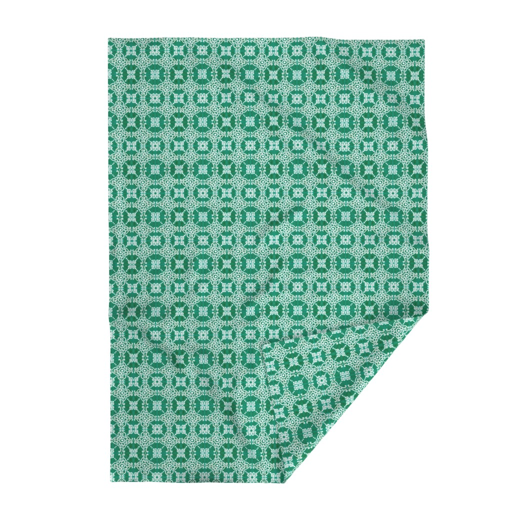 Lakenvelder Throw Blanket featuring Spanish Tile N1 (Pantone Arcadia Green) reversed by helenpdesigns