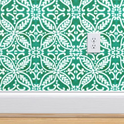 Talavera Wallpaper-Spanish Tile Pantone Arcadia Green By Helenpdesigns Custom Printed Removable Self Adhesive Wallpaper Roll by Spoonflower