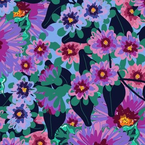 Purple, Pink and Blue Flowers