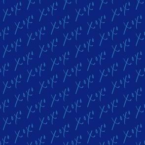 XOXO Hugs and Kisses - Royal and Aqua