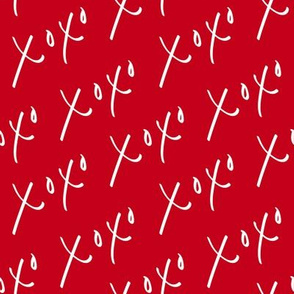 XOXO Hugs and Kisses - red and white