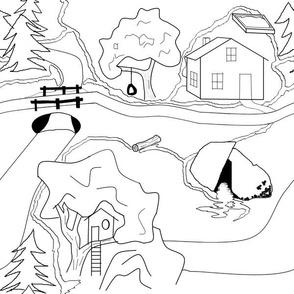 children's map J black and white