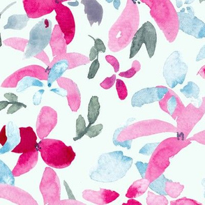 Bright Pink Scattered  Floral