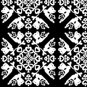 Peacock in love hawaiian quilt black-white small