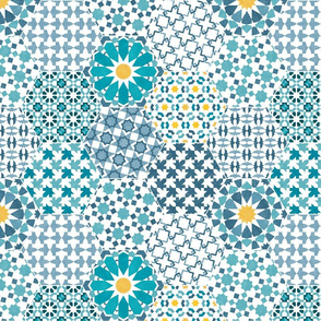 Alhambra Tiles - Fade blue and yellow