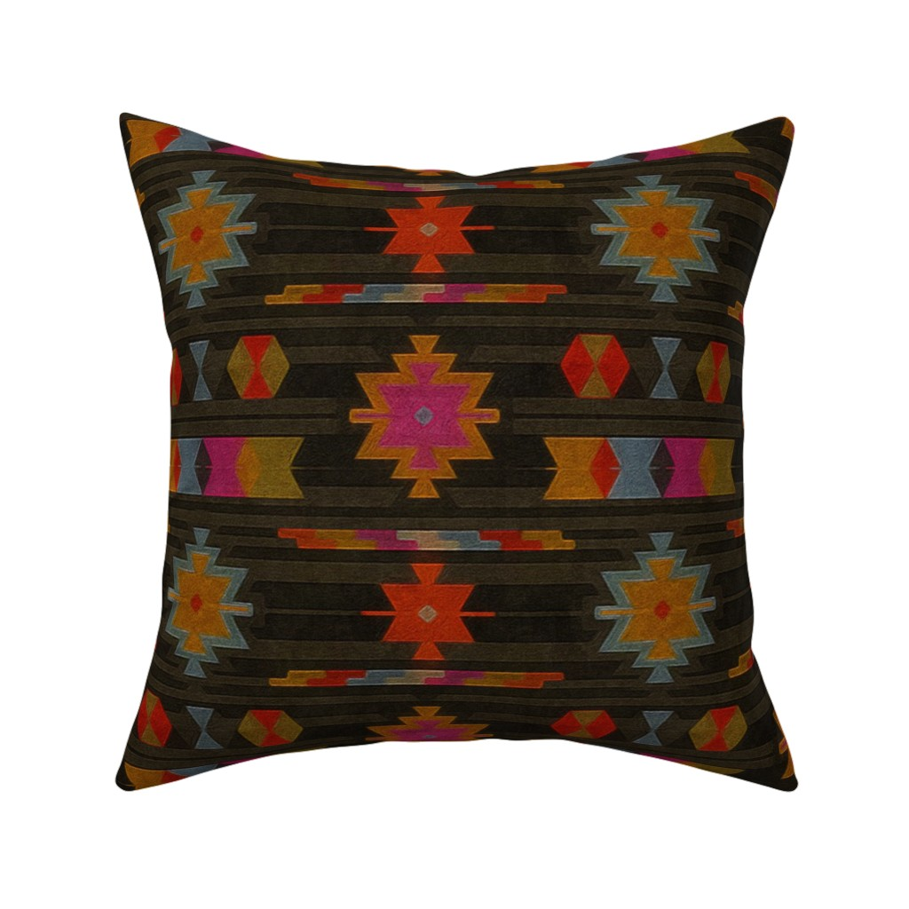 Catalan Throw Pillow featuring vibrant kilim by dessineo
