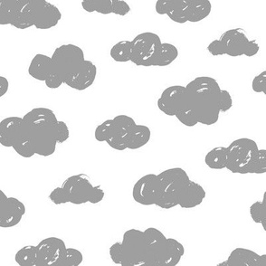 Gray monochrome love clouds abstract geometric gender neutrals prints for kids