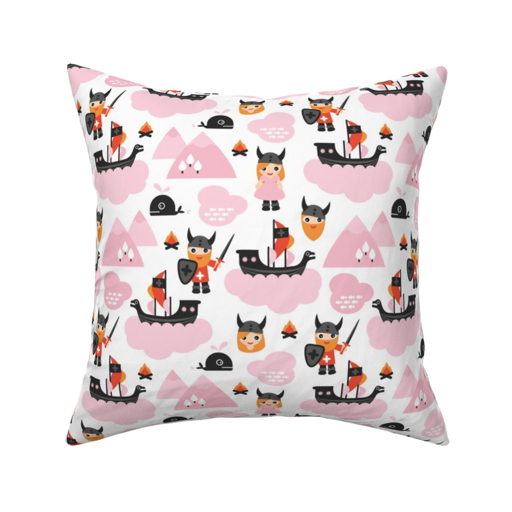 Catalan Throw Pillow featuring Cute kids historical hero theme viking battle ship whale and scandinavian woodland in pink and orange for girls by littlesmilemakers