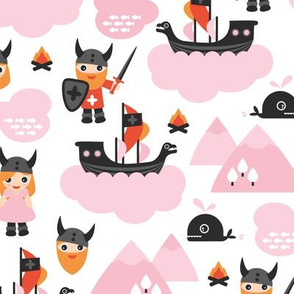 Cute kids historical hero theme viking battle ship whale and scandinavian woodland in pink and orange for girls