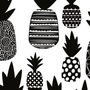 Black and white monochrome summer pineapples fruit print