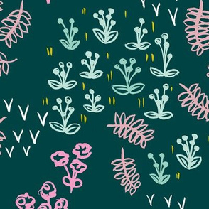 Teal poppy and flower winter garden modern abstract botanical designs pink mint
