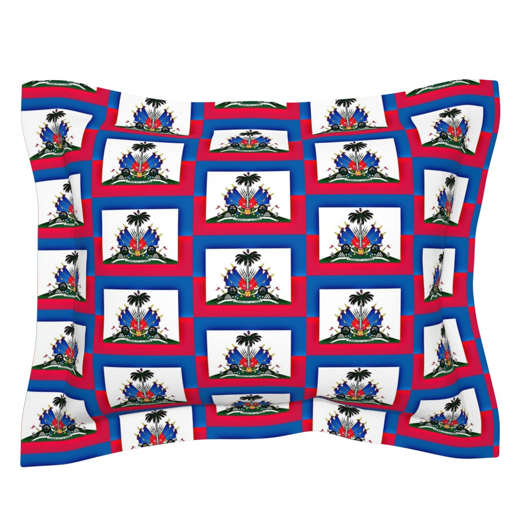Sebright Pillow Sham featuring Haitian Flag by robin_rice