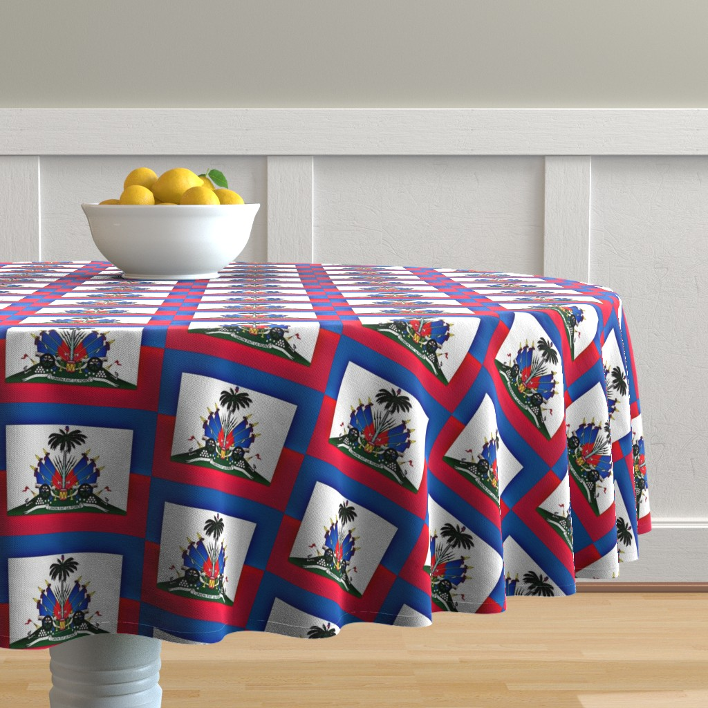 Malay Round Tablecloth featuring Haitian Flag by robin_rice