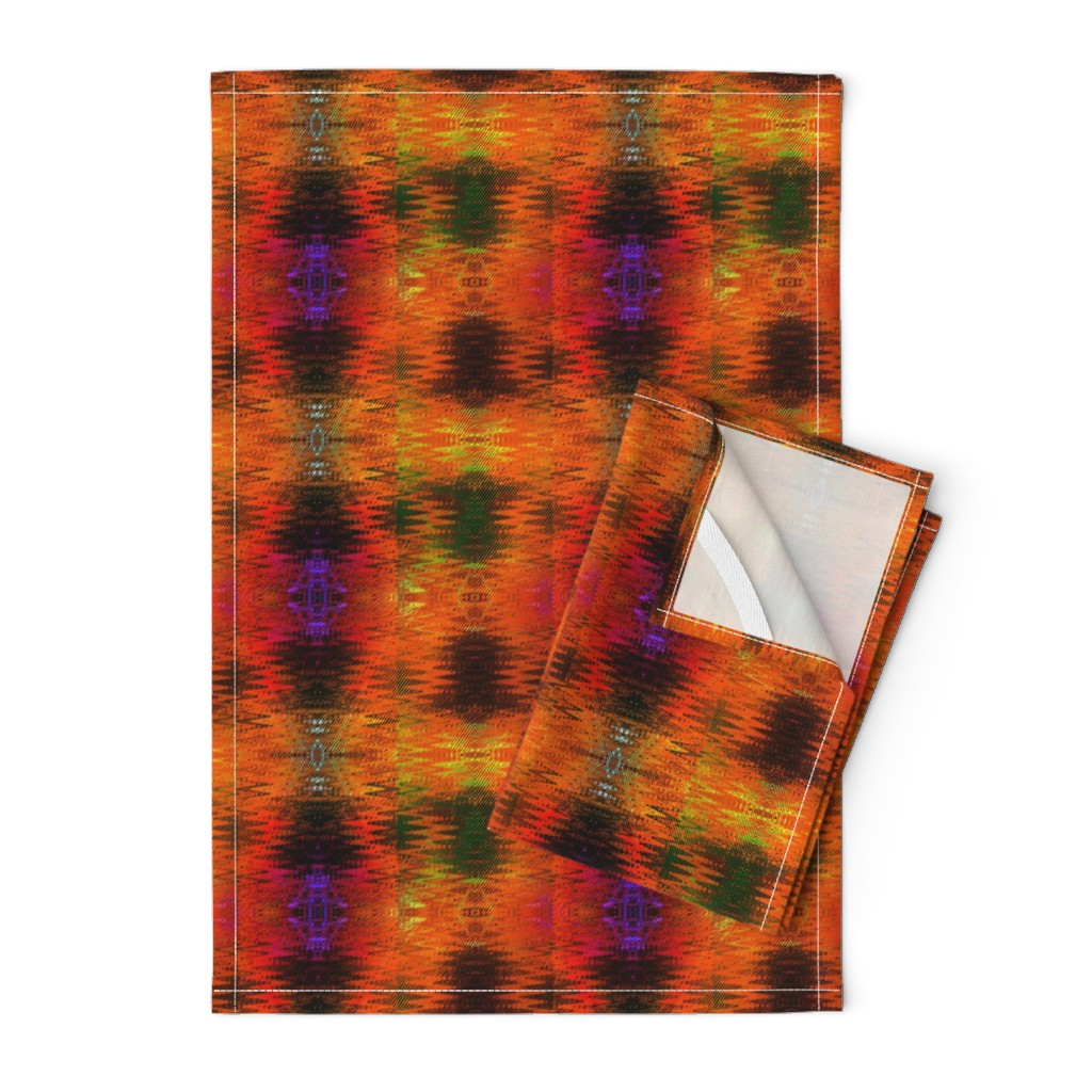 Orpington Tea Towels featuring NEW WEAVE KILIM NAVAJO IKAT ORANGE STRIPES by paysmage