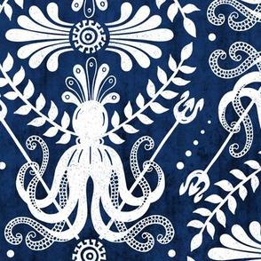 Mythos - Nautical Octopus Damask Blue Large Scale