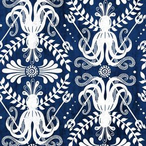 Mythos - Nautical Damask Blue Large Scale