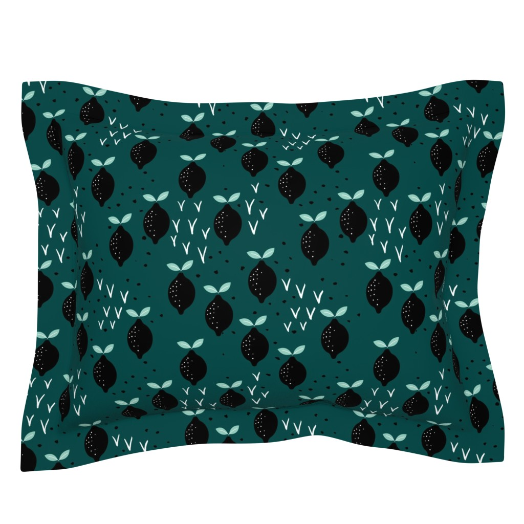 Sebright Pillow Sham featuring Teal lemon poppy fruit and flower winter garden modern abstract botanical designs mint by littlesmilemakers