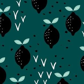 Teal lemon poppy fruit and flower winter garden modern abstract botanical designs mint