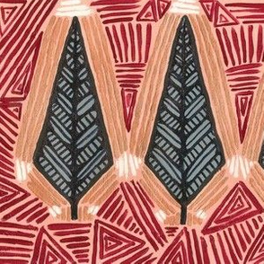 AZTEC TRIBAL FEATHER  GREY/BURGUNDY