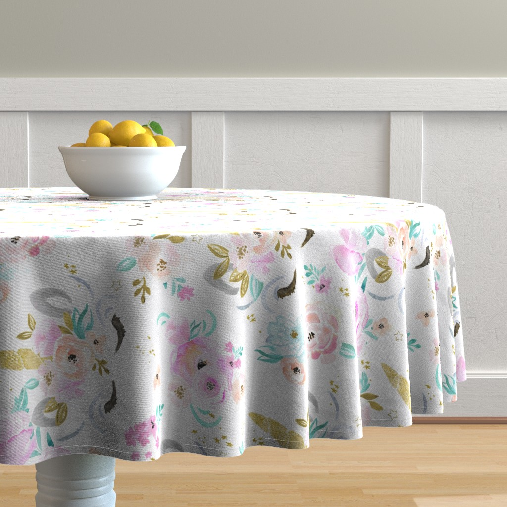 Malay Round Tablecloth featuring unicorn floral-rotate by crystal_walen